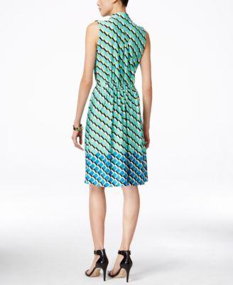 NY Collection Printed Sleeveless Shirtdress
