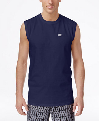 Champion men 39 s jersey sleeveless t shirt t shirts men for Tall sleeveless t shirts