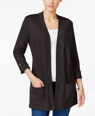 Karen Scott Petite Three-Quarter-Sleeve Cardigan