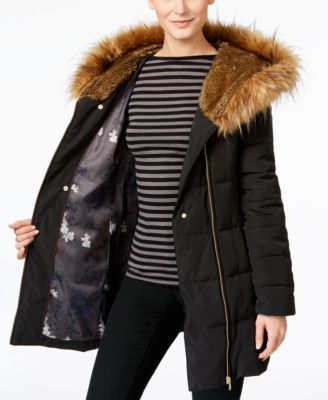 Cole Haan Asymmetrical Faux-Fur Down Puffer Coat