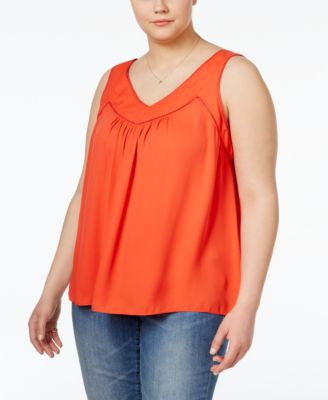 Jessica Simpson Trendy Plus Size Sleeveless V-Neck Top
