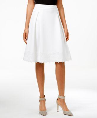 Calvin Klein Lace Scuba A-Line Skirt