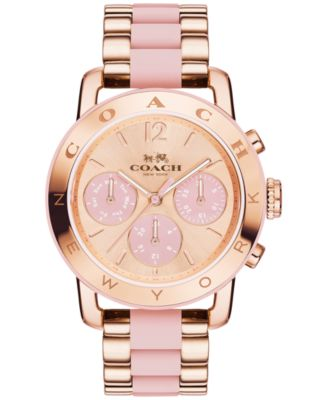COACH Women's Chronograph Legacy Sport Rose Gold-Tone Stainless Steel and Blush Silicone Bracelet Watch 36mm 14502535