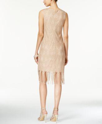 Thalia Sodi Crochet Fringe-Hem Sheath Dress
