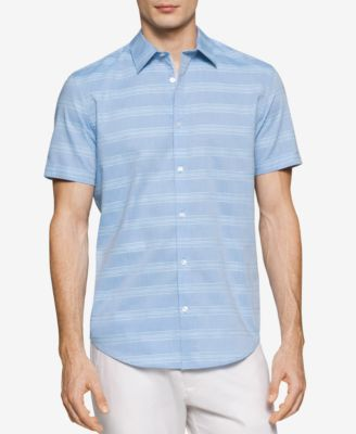 Calvin Klein Mens Striped Short-Sleeve..