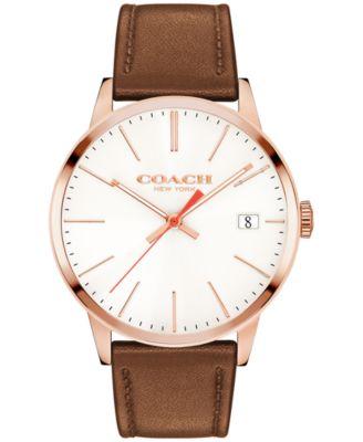 COACH Men's Metropolitan Brown Leather Strap Watch 43mm 14602095