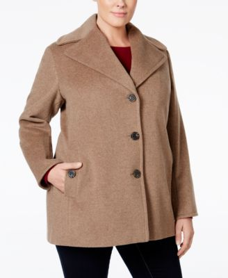Calvin Klein Plus Size Wool-Cashmere Single-Breasted Peacoat