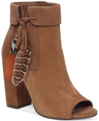 Jessica Simpson Kailey Feather-Detail Peep-Toe Block-Heel Booties