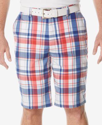 PGA TOUR Mens Performance Plaid Golf Shorts