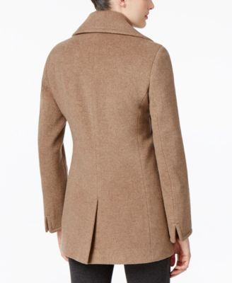 Calvin Klein Petite Wool-Cashmere Single-Breasted Peacoat