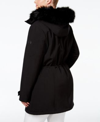 Calvin Klein Plus Size Hooded Faux-Fur-Trim Water-Resistant Anorak