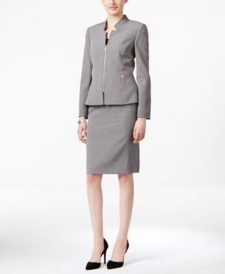 Tahari ASL Zip-Front Skirt Suit