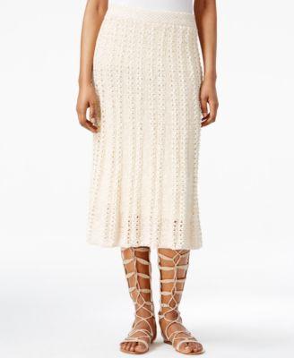 RACHEL Rachel Roy Crocheted Midi Skirt