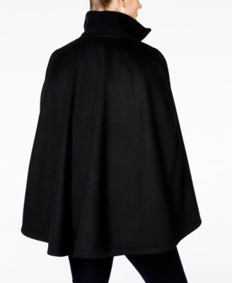 Laundry by Shelli Segal Plus Size Zipper-Front Belted Cape Coat