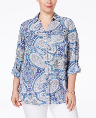Charter Club Plus Size Paisley-Print Button Down Blouse