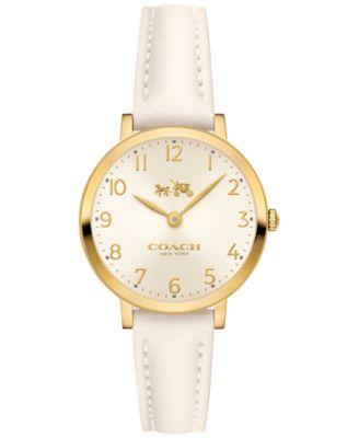 COACH Women's Ultra Slim White Leather Strap Watch 28mm 14502564