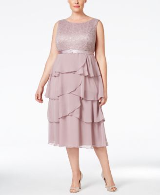 R & M Richards Plus Size Lace Tiered Dress and Jacket