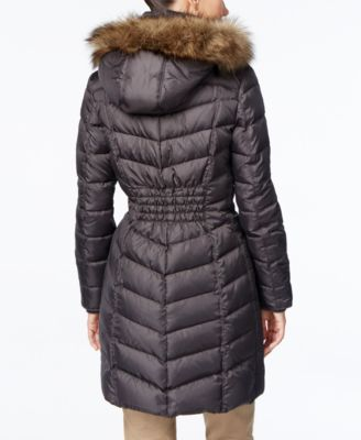 MICHAEL Michael Kors Petite Hooded Faux-Fur-Trim Down Puffer Coat