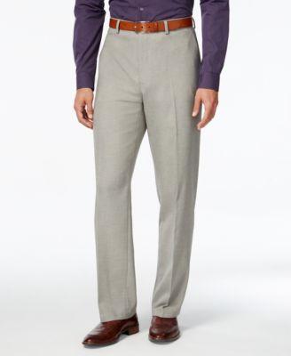 Alfani Mens Gray Flat-Front Pants Clas..