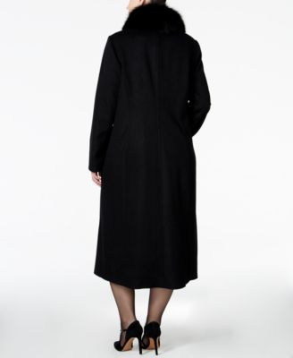 Forecaster Plus Size Fox-Fur-Collar Maxi Coat