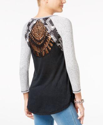 Miss Me Colorblocked Crochet-Back Top