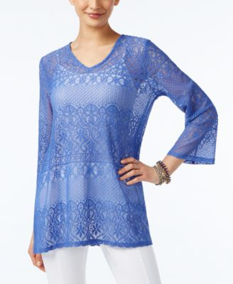 Alfani Lace V-Neck Blouse