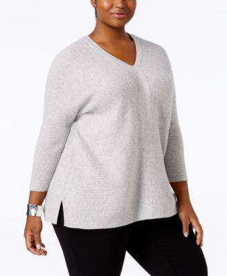 Charter Club Plus Size Cashmere Textured Sweater, Only at Macy's