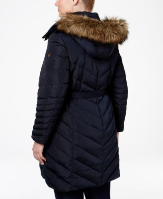 MICHAEL Michael Kors Plus Size Faux-Fur Belted Puffer Coat