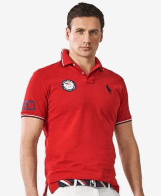 Polo Ralph Lauren Men\u0026#39;s Team USA Custom-Fit Mesh Polo Shirt