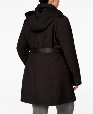 Via Spiga Plus Size Asymmetrical Quilted Raincoat