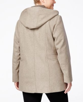 London Fog Plus Size Wool-Blend Hooded..