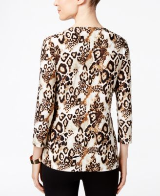 JM Collection Animal-Print Jacquard Top