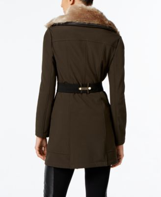 Via Spiga Faux-Fur-Collar Belted Coat