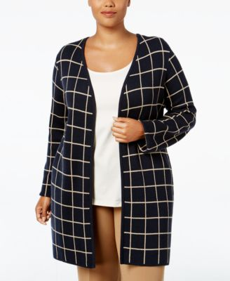 Charter Club Plus Size Milano Windowpane Duster Cardigan, Only at Macy's