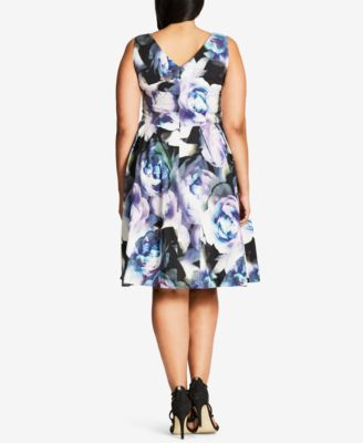 City Chic Plus Size Luminous Floral-Pr..