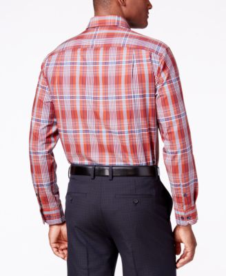 Tasso Elba Mens Big and Tall Plaid Long-Sleeve Shirt Classic Fit