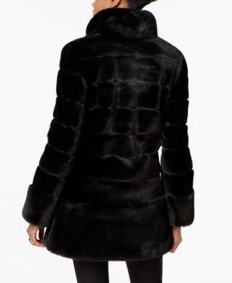 Jones New York Faux-Leather-Trim Faux-Fur Coat