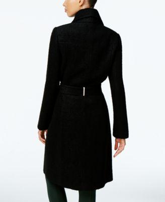 Ivanka Trump Asymmetrical Walker Coat with Brooch