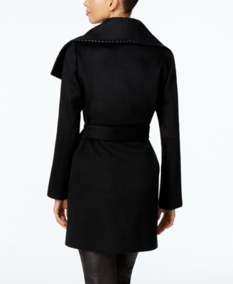 Elie Tahari Leather-Trim Wrap Coat
