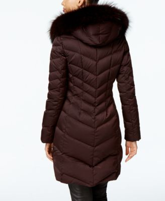 Elie Tahari Asiatic Raccoon-Fur-Trim Chevron Down Puffer Coat