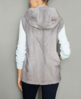 The Fur Vault Mink Fur Hooded Vest