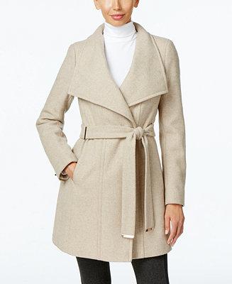 Calvin Klein Wool Blend Asymmetrical Walker Coat Coats