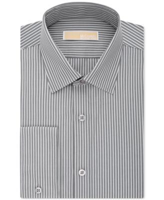 MICHAEL Michael Kors Mens Non-Iron Classic-Fit Gray Stripe Dress Shirt