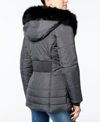 Wildflower Hooded Faux-Fur-Trim Puffer..