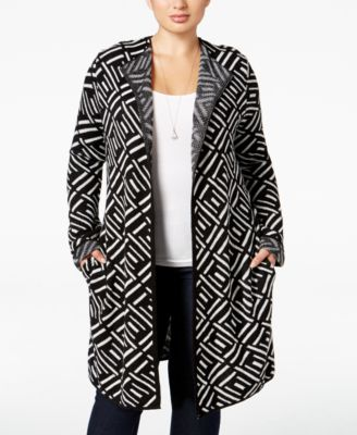 NY Collection Plus Size Jacquard-Knit Sweater Jacket