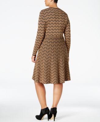 INC International Concepts Plus Size Chevron Sweater Dress