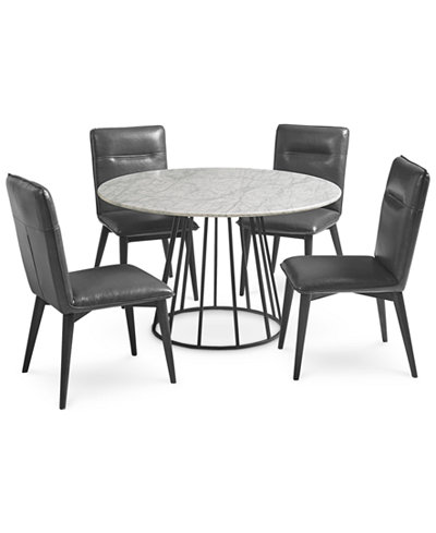 Callisto Marble Round Dining Set 5 Pc Table Amp 4 Side