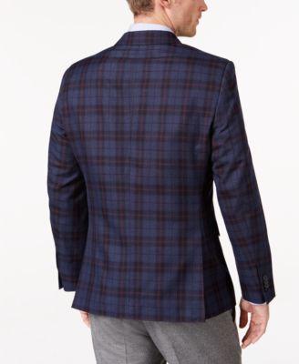 Tommy Hilfiger Mens Slim-Fit Blue and Red Plaid Sport Coat