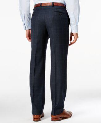 Lauren Ralph Lauren Mens Classic-Fit Blue Plaid Flannel Dress Pants