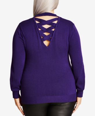 City Chic Trendy Plus Size Cutout-Back Sweater